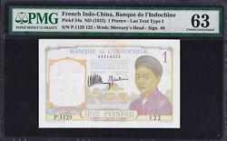 French Indochina 1 Piastre 1932 P-54a Lao Text Type I Pmg63 Rare 4 Digits Series
