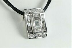6500 18k White Gold Round Baguette Diamond Pendant 18and039and039 Black Silk Necklace