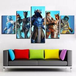 Fortnight Battle Royale Framed 5 Piece Video Game Canvas Wall Art Image Picture