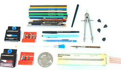 Mix Lot Tools Drafting Faber Castell Pencils Stromberg Knives Compass Eraser Yj