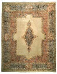 Rare 13.5and039x17and039 Vintage Royal Kermaann Rug Handmade Classic Palace Carpet Beige