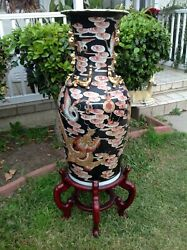 Vintage Chinese Rose Porcelain Gold Gilt With Dragon And Birds Design 37 Tall