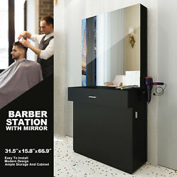 Black Wall Mount Barber Station W Mirror Dressing Table Beauty Spa Salon Styling