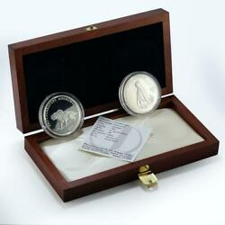 Mongolia Set 2 Coins Dinosaurs Series Proof Silver 2001