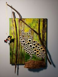 Original Acrylic Painting Owl 16x20 Mixed Media Mickey Mouse Bait And Switch