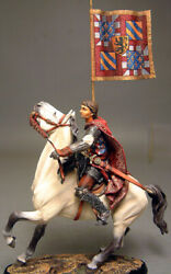 Painted Tin Toy Soldier Horseman Knight 24 90mm 1/20