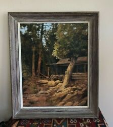 Estate Wood Cabin Wisconsin Door County Artist Signed Ron Acrylic On Board