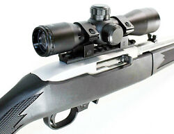 Ruger 10/22 Rifle 4x32 Scope With Base Mount Rail Kit Mildot Reticle Hunting Blk