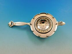 Acorn By Georg Jensen Denmark Sterling Silver Tea Strainer As With Rest 5 3/4