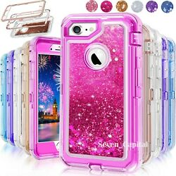 For iPhone 6S 7 8 Plus Defender Liquid Glitter Shockproof Protective Cover Case $9.98