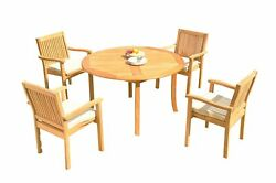 A-grade Teak 5pc Dining 52 Round Table 4 Leveb Stacking Arm Chairs Set Outdoor