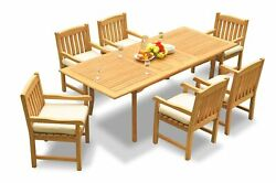 A-grade Teak 7pc Dining 94 Rectangle Table 6 Devon Arm Chairs Set Outdoor Patio