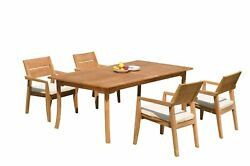 A-grade Teak 5pc Dining 118 Rectangle Table 4 Vellore Stacking Arm Chairs Set