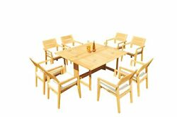 Agrade Teak 9pc Dining 60 Sqr Rect Folding Table Vellore Stacking Arm Chairs Set