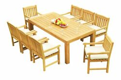 A-grade Teak 9pc Dining 86 Canberra Rectangle Table 8 Devon Arm Chairs Set