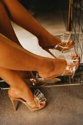 CAPE ROBBIN womens Yippy Nude Open toe Clear Transparent Mule Sandals Slip On