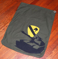 Vintage Militaria 1st Cavalry Bag Trench Art Laundry Bag Hand Made Olive Drab Xq
