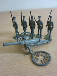 Antique Britains Ltd, England Lead Soldiers And Canon 6pc Lot