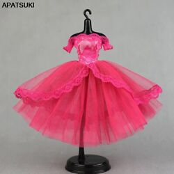 Hot Pink Evening Party Dress for Blythe Doll Clothes Off Shoulder Tutu Dress DIY $4.92
