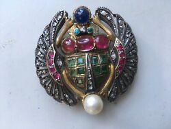 Egyptian revival scarab brooch