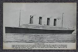 Titanic Postcard - Produced Shortly After The Disaster.