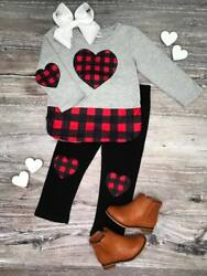 Girls' or Toddler Valentine's Day Outfit Buffalo Plaid Heart 2T 3T 4T 5 6 7 8