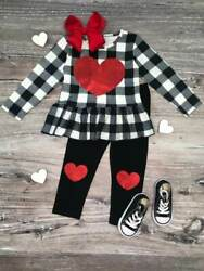 Girls Valentine's Day Outfit Glitter Heart Plaid Knee Patch Set 2T 3T 4T 5 6 7 8