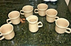 Vtg Sunmarc Dimensions Tan Speckled Mugs And Creamer Stoneware Made In Japan Set 6