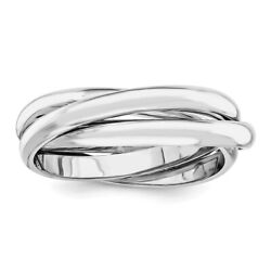 Ladies 14k White Gold Twisted Entwined Rolling Triple Band Ring - Size 4.5