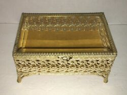 Avon Vintage Gold Tone and White Jewelry Box with Glass Lid