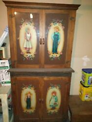 Antique Kitchen Pantry Cupboard 4 Door Handpainted 100+ Years Old 7and039 5 Tall