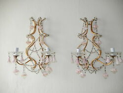 C 1920 French Pink Opaline Crystals Flower Bells And Balls Gorgeous Sconces