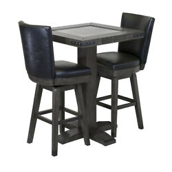 Harley-davidson Bar And Shield Square Pub Table And 2 Square Stools - Industrial G