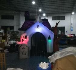 10ft New Halloween Inflatable Haunted House With Led Lights For Decoration Bi