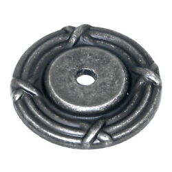 Belwith Keeler Antique Pewter Ribbon And Reed Round Cabinet Knob Backplate M606