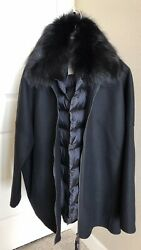 New Moncler Buxus 2 In One Wool Coat And Fur Collar Down Gilet Vest Size 4 3275