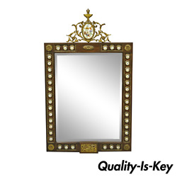Vintage French Louis Xv Style Console Wall Mirror With Porcelain Plaques