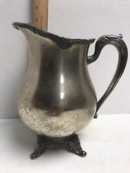 Vintage Silver Plated Water Pitcher By English Silver Mfg. Corp Made In Usa