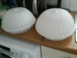A Pair Of Matching Milk Glass Large Ceiling Lights C. 1930s Approx. 29 Cm Across