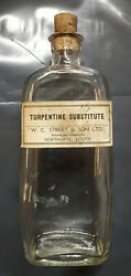 Vintage Turpentine Substitute Bottle With Label And Cork