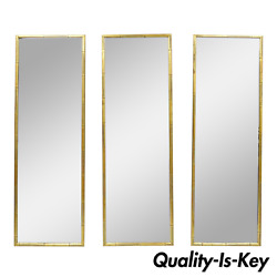 3 Vintage Italian Hollywood Regency Faux Bamboo Wood Frame Gold 60 Wall Mirrors