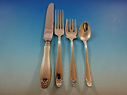 Puritan By Stieff Sterling Silver Flatware Set For 8 Service 37 Pieces