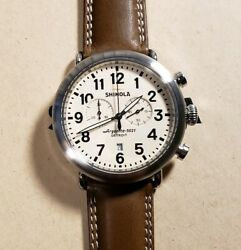 Shinola Runwell Watch With Large 47mm Off White Chronograph Face And Brown Band