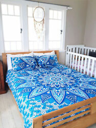 Indian Cotton Floral Mandala Doona Duvet Cover Bohemian Bed Comforter Set Boho