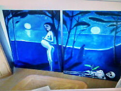1960 Very Rare Large Two Old Vietnam Oil Paintins By Yuri Mason 36x48 4200 Andnbsp