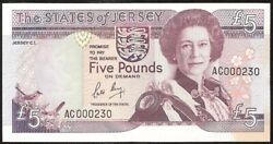 The States Of Jersey 5 Pounds 1989 P16a Vf