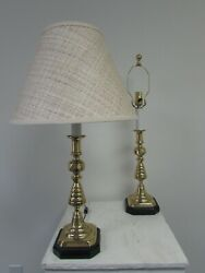 English Brass Beehive Candlestick Lamps, C1880