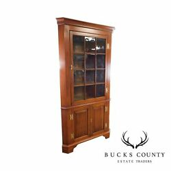 Henkel Harris Chippendale Style Large Cherry Corner Cabinet With Antique Glass