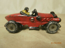 Vintage Cast Iron Red Racer Boat-tail Car With Driver Toy
