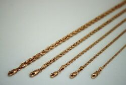 14k Solid Rose Gold Rope Chain Necklace 1.5mm 6mm 16 30 For Men Women